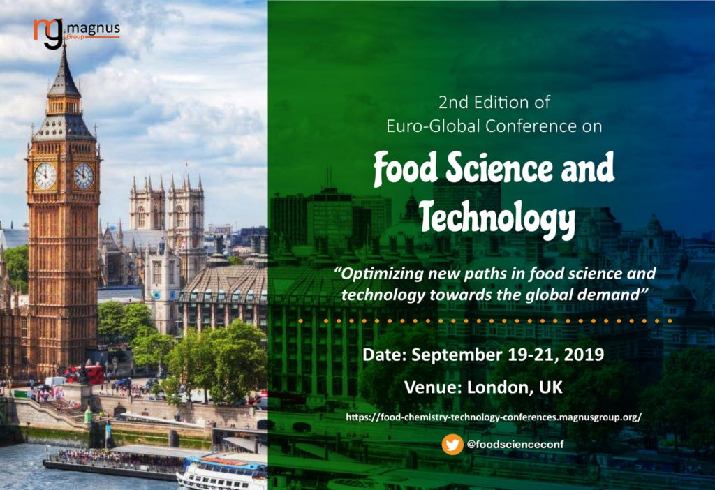 """FAT 2019 1024x702 - Announce of Speach of Majda Ortan, ing. , on 2nd Edition of the Euro-Global Conference on Food Science and Technology"""" (FAT 2019)"""