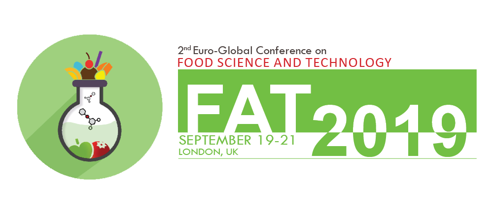"""FAT 2019 ICON logo - Announce of Speach of Majda Ortan, ing. , on 2nd Edition of the Euro-Global Conference on Food Science and Technology"""" (FAT 2019)"""