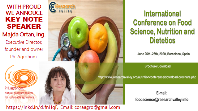 """food conference konferenca hranan Španija 2020 1 - Updating of (Intensive) Agriculture by Natural """"Language of Frequences"""""""